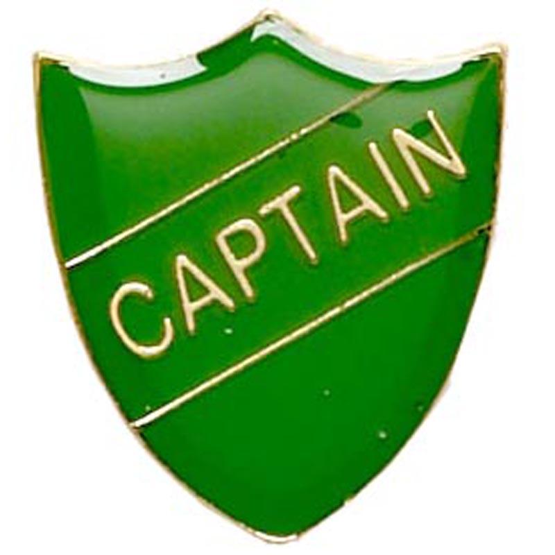 Green Captain Shield Lapel Badge
