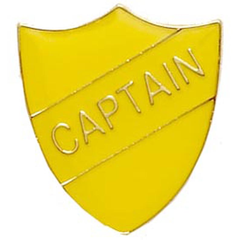 22 x 25mm Yellow Captain Shield Lapel Badge
