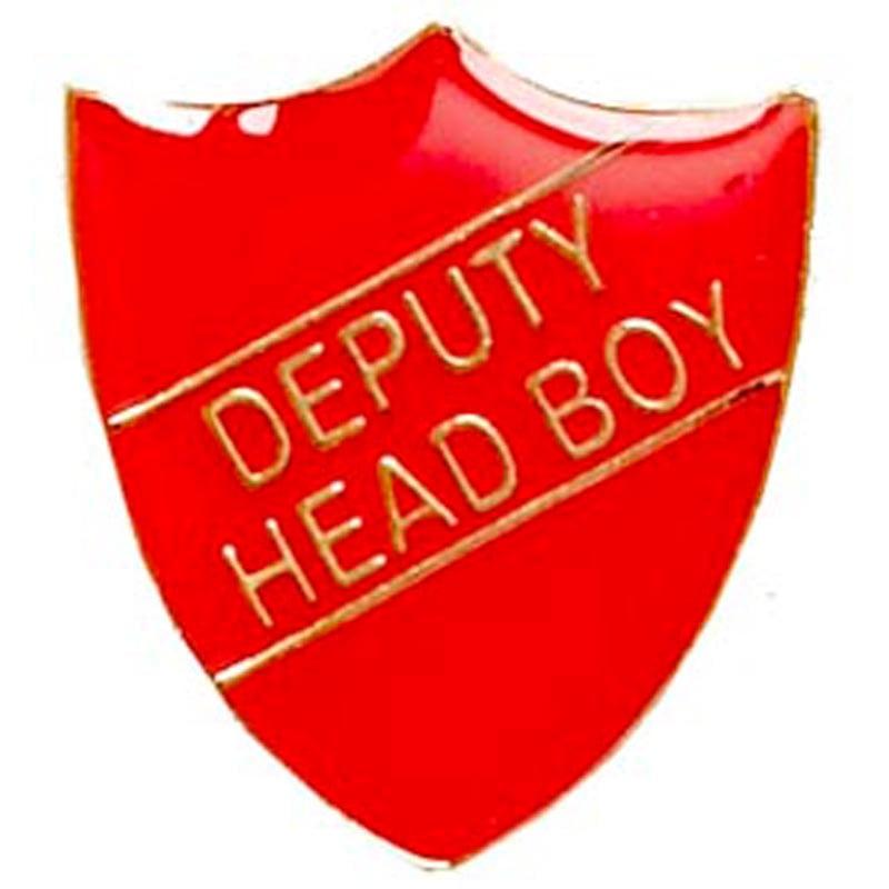 22 x 25mm Red Deputy Head Boy Shield Lapel Badge