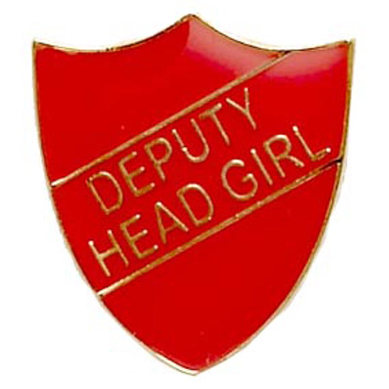 22 x 25mm Red Deputy Head Girl Shield Lapel Badge