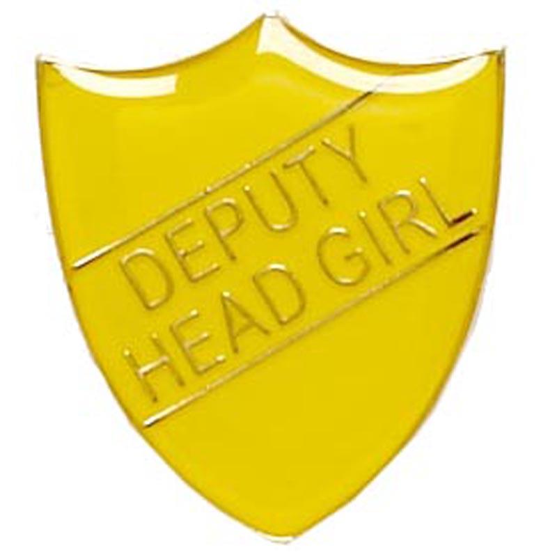 22 x 25mm Yellow Deputy Head Girl Shield Lapel Badge