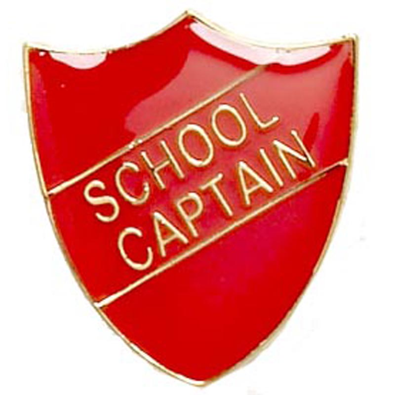 22 x 25mm Red School Captain Shield Lapel Badge