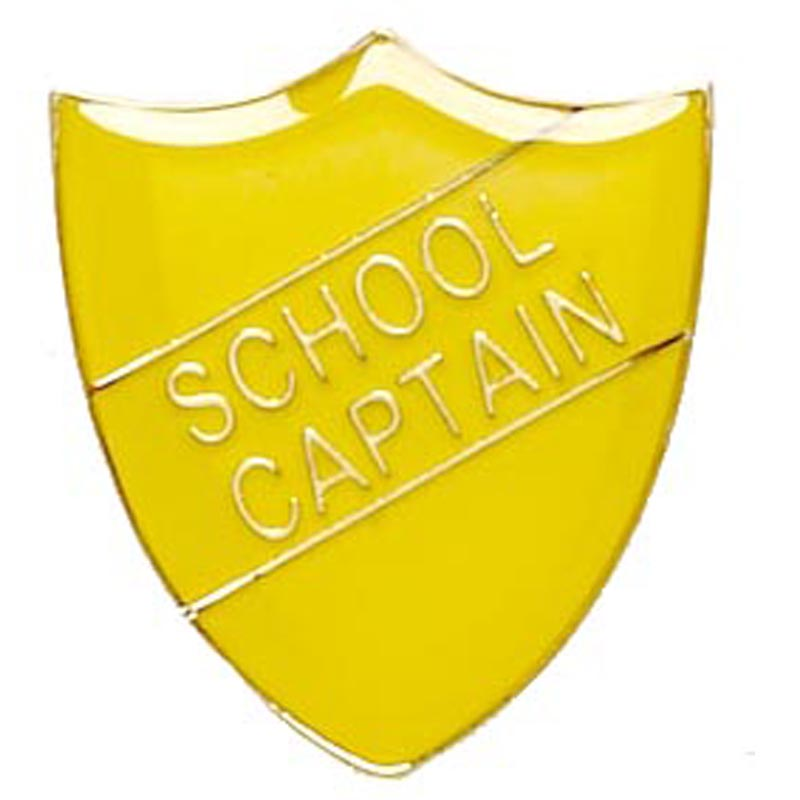 Yellow School Captain Shield Lapel Badge