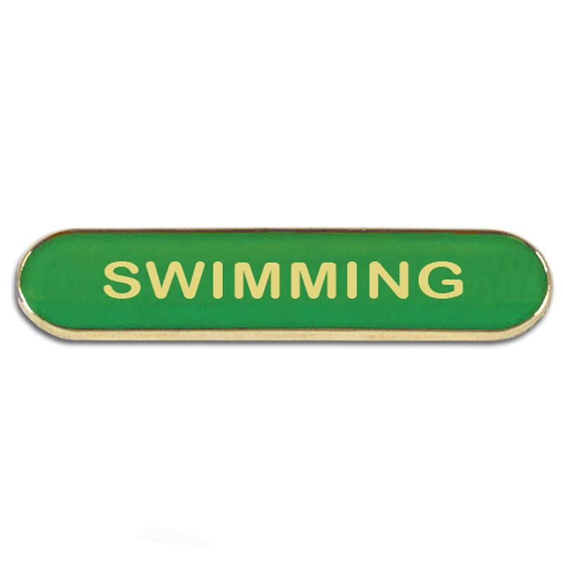 Green Swimming Rectangle School Metal Pin Badge
