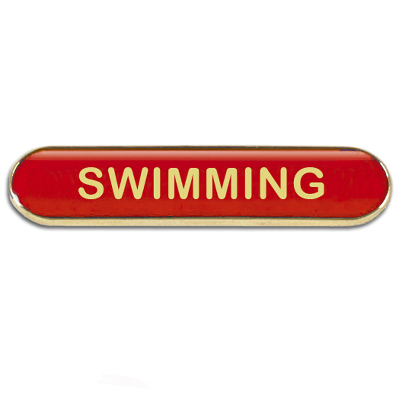 Red Swimming Rectangle School Metal Pin Badge