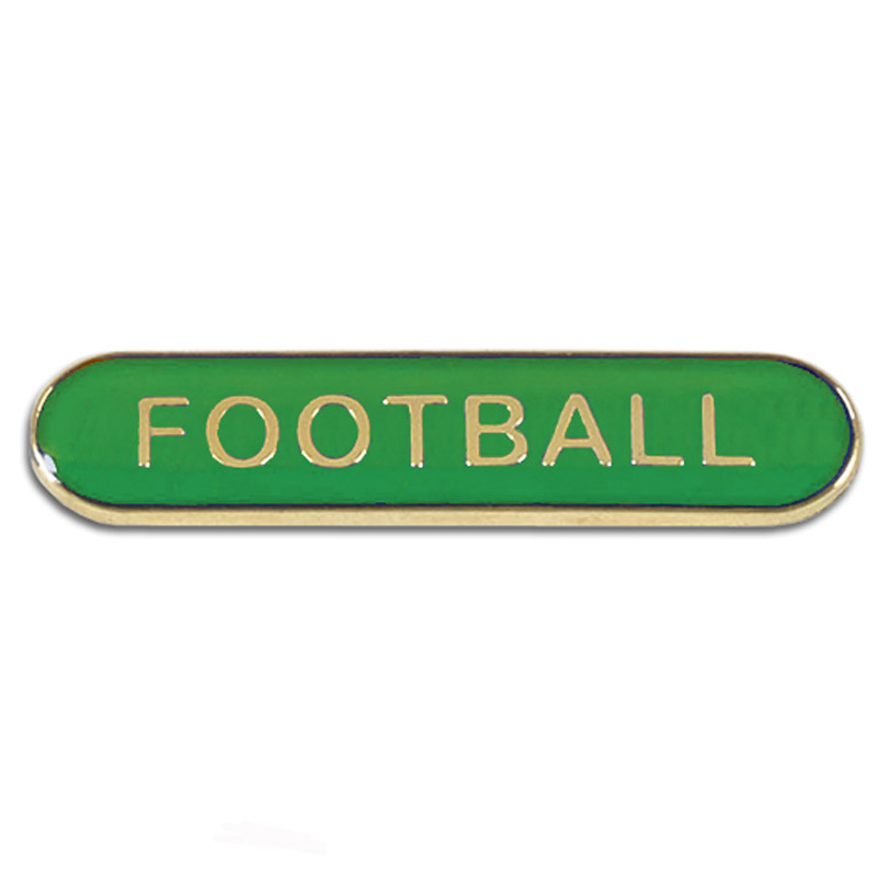 Green Football Rectangle School Metal Pin Badge