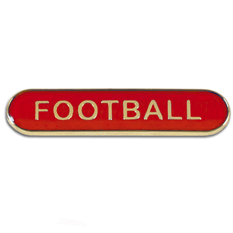 Red Football Rectangle School Metal Pin Badge