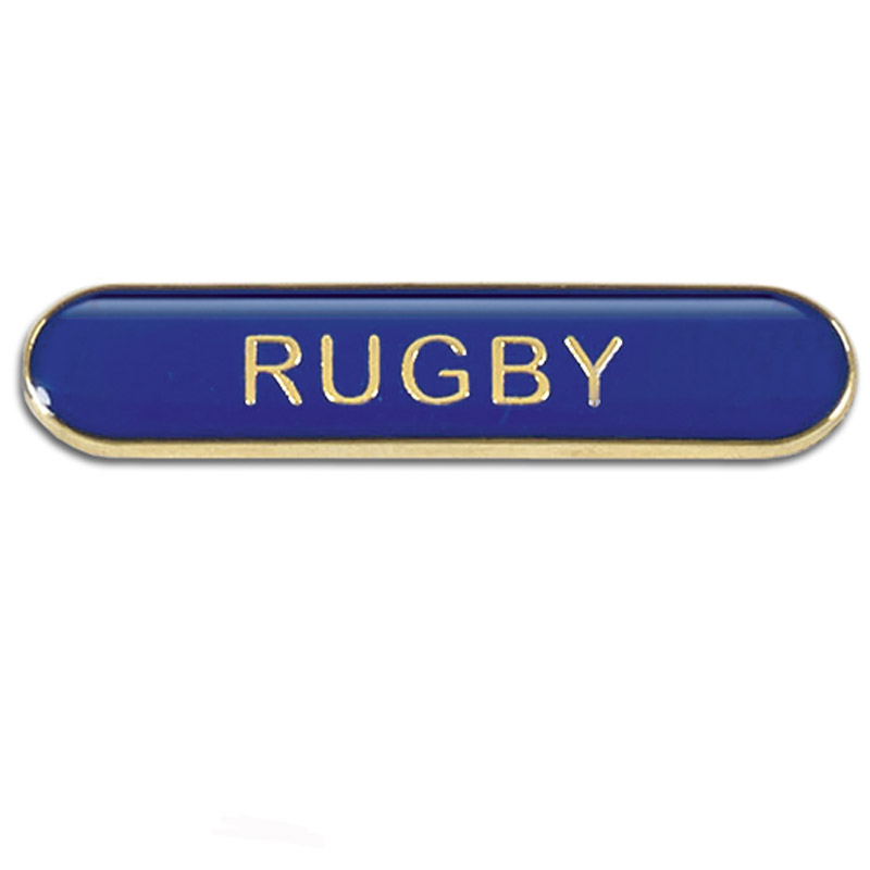 Blue Rugby Rectangle School Metal Pin Badge
