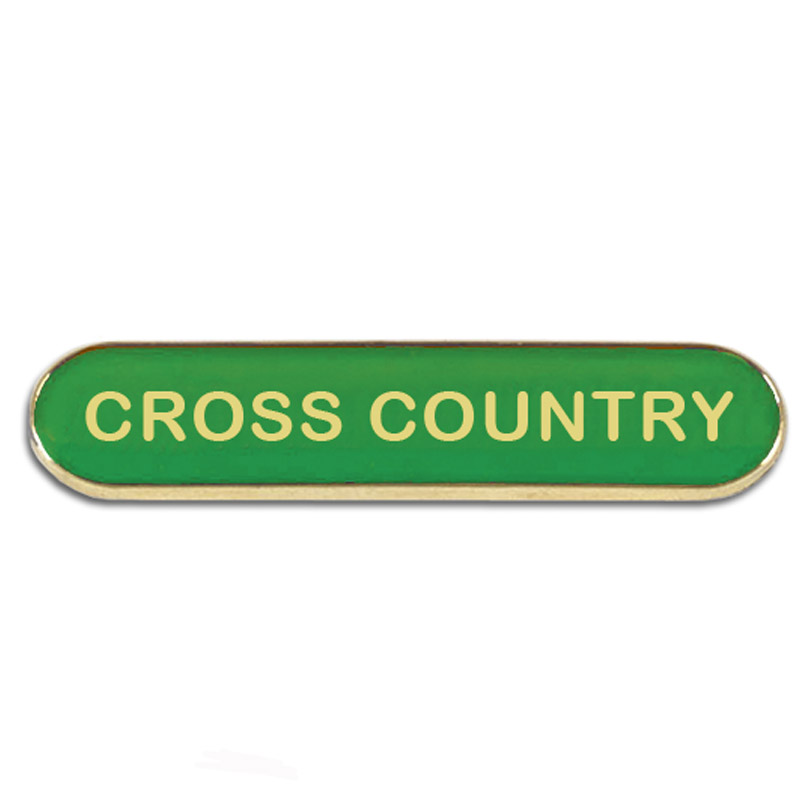 Green Cross Country Rectangle School Metal Pin Badge