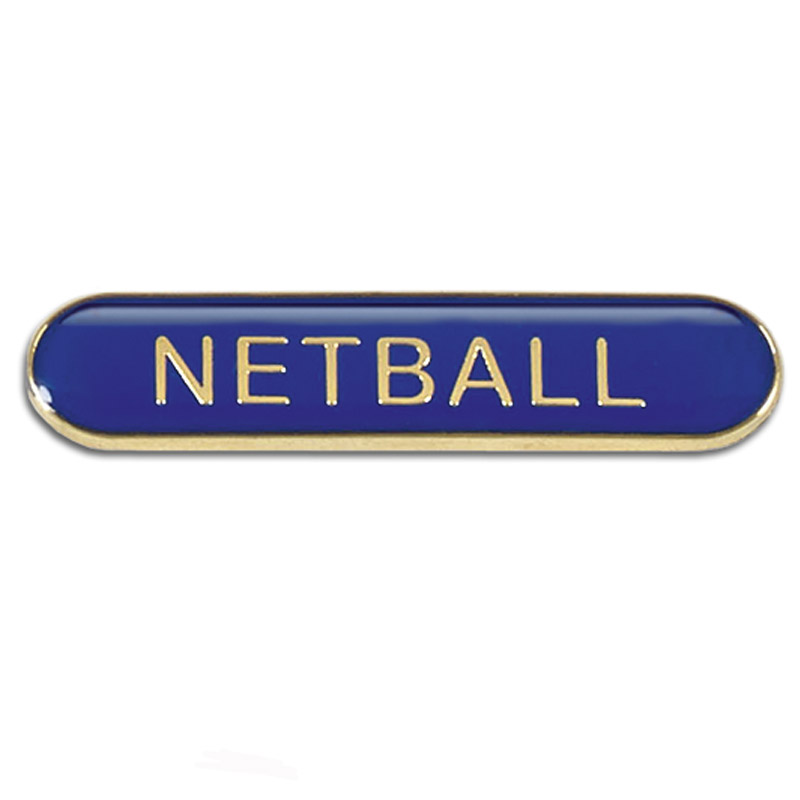 Blue Netball Rectangle School Metal Pin Badge