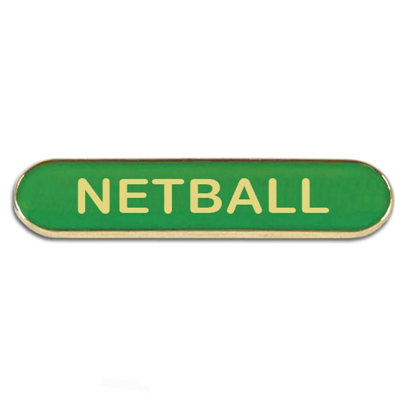 Green Netball Rectangle School Metal Pin Badge