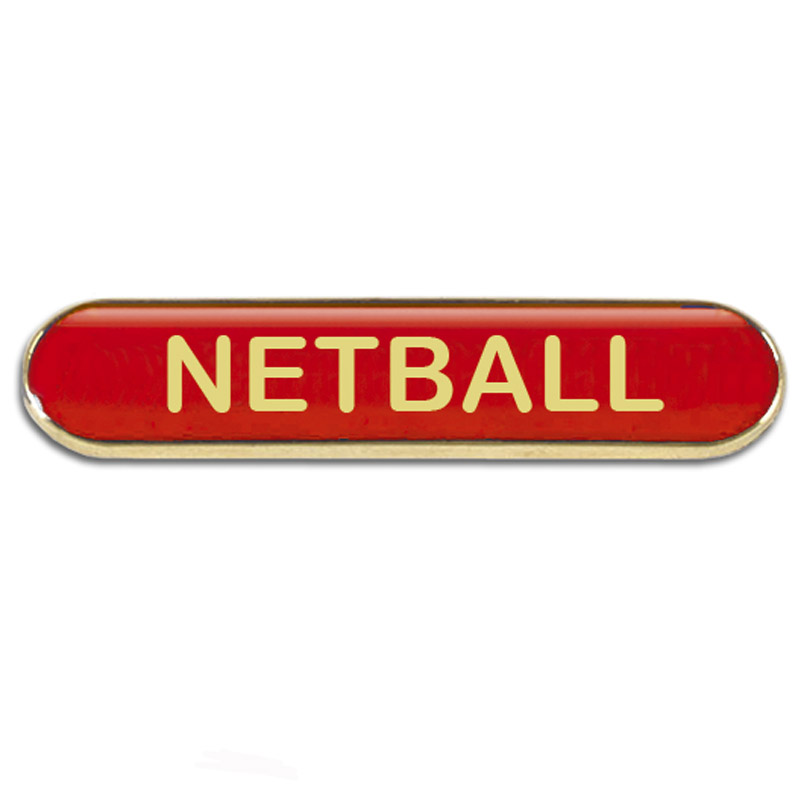 Red Netball Rectangle School Metal Pin Badge