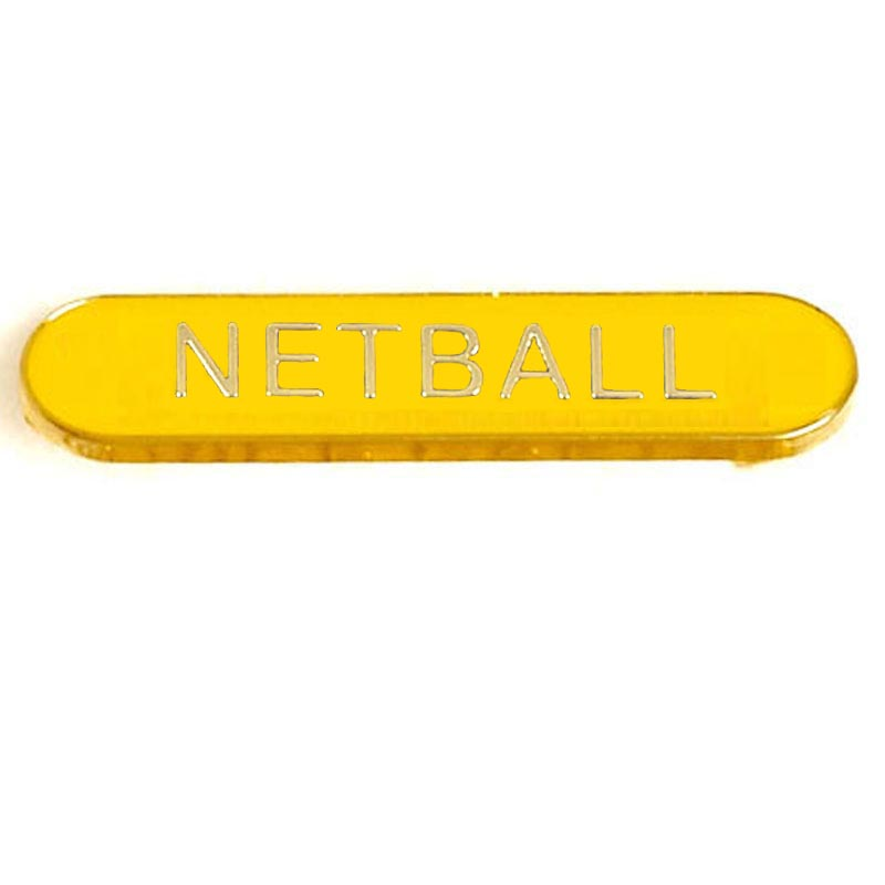 Yellow Netball Rectangle School Metal Pin Badge