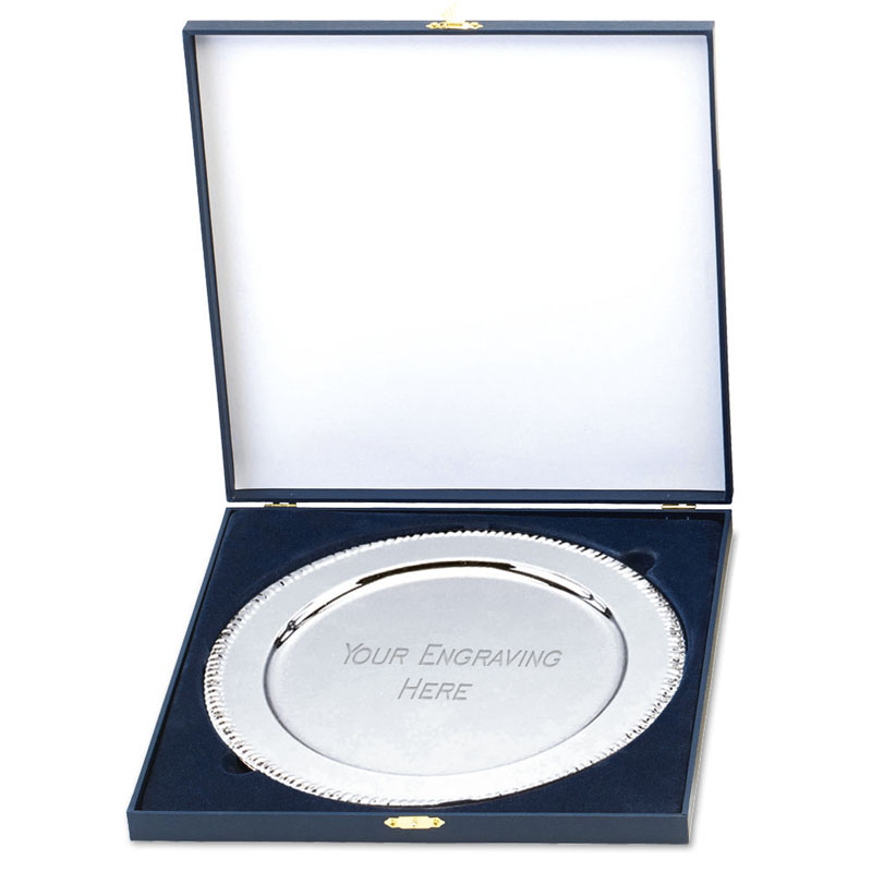 10 Inch Etched Rim Apollo Cased Presentation Salver