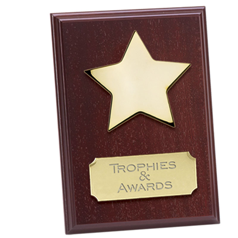 6 Inch Mahogany Effect with Gold Star Westminster Plaque