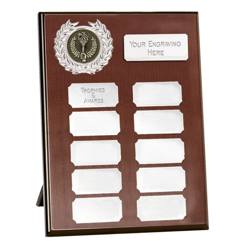 7 Inch Mahogany Effect with Silver Plates Westminster Plaque