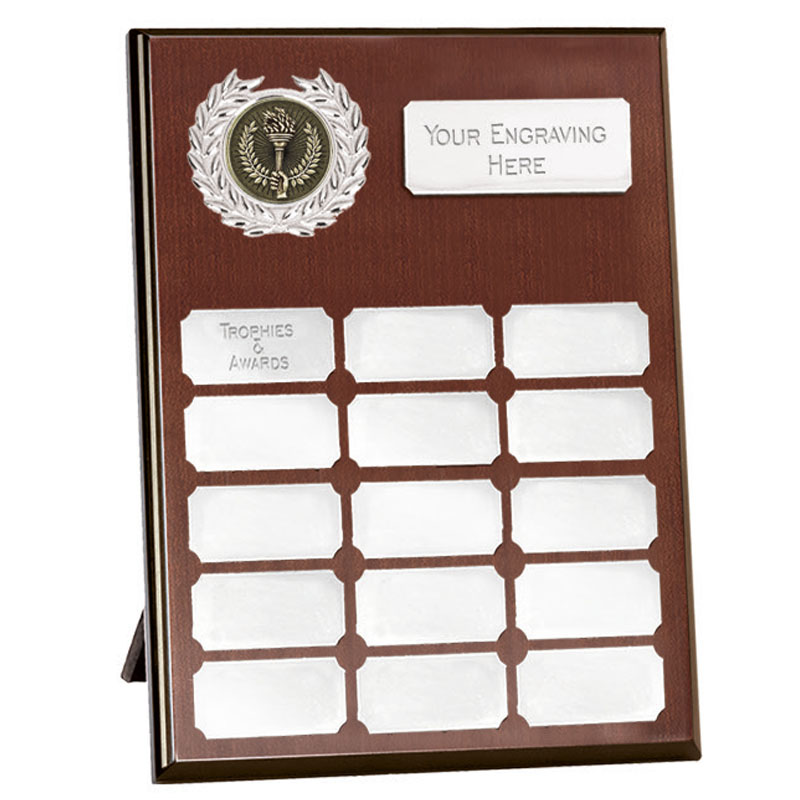 8 Inch Mahogany Effect with Silver Plates Westminster Plaque
