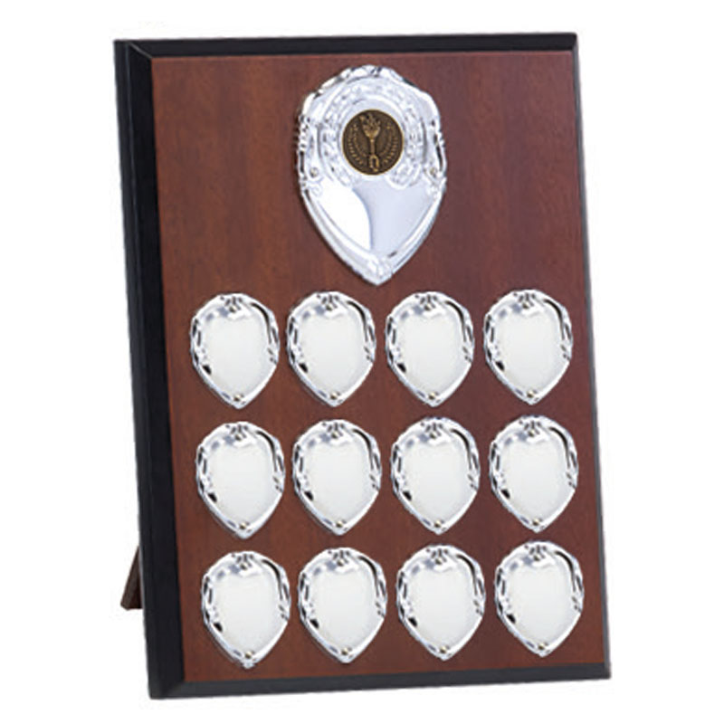 9 Inch Mahogany Effect with Silver plates Westminster Plaque
