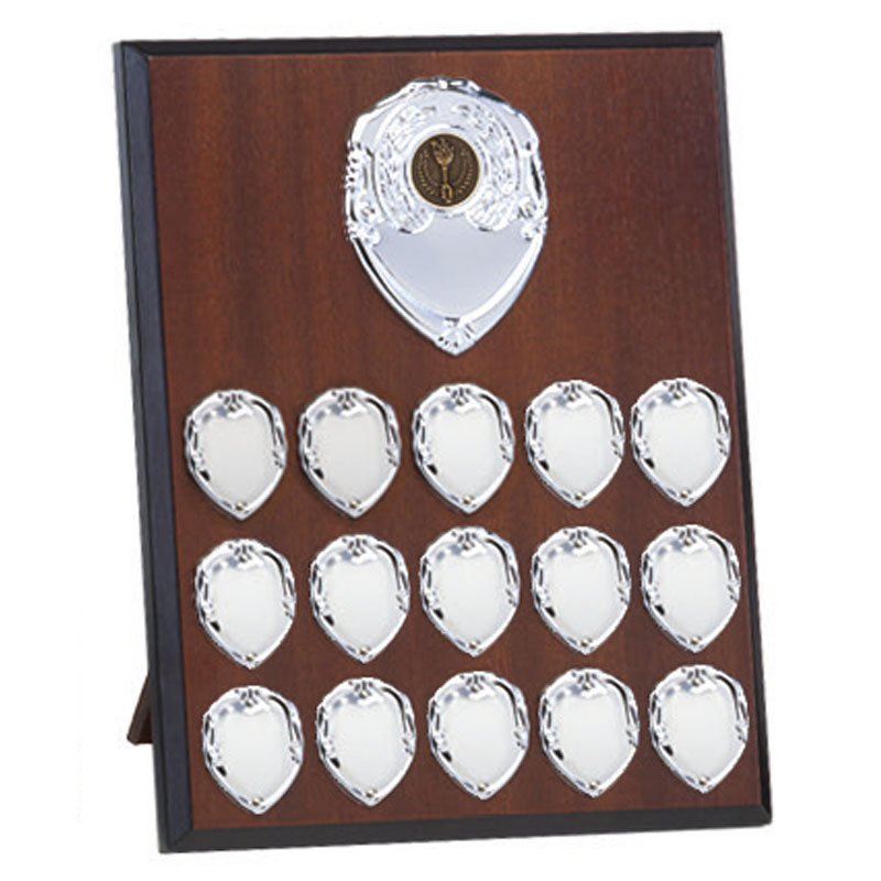 10 Inch Mahogany Effect with Silver Plates Westminster Plaque