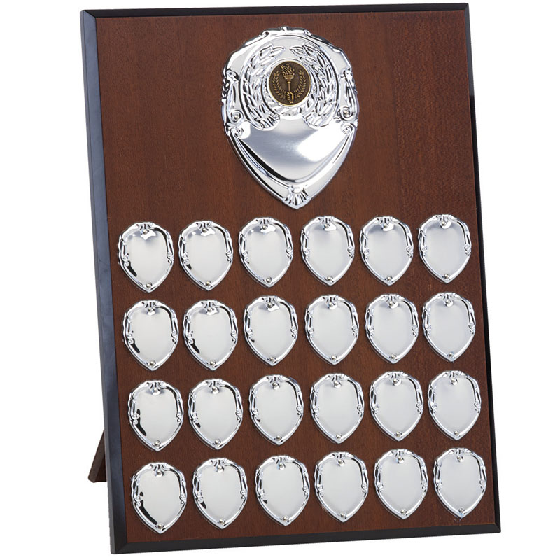 12 Inch Mahogany Effect with Silver Plates Westminster Plaque