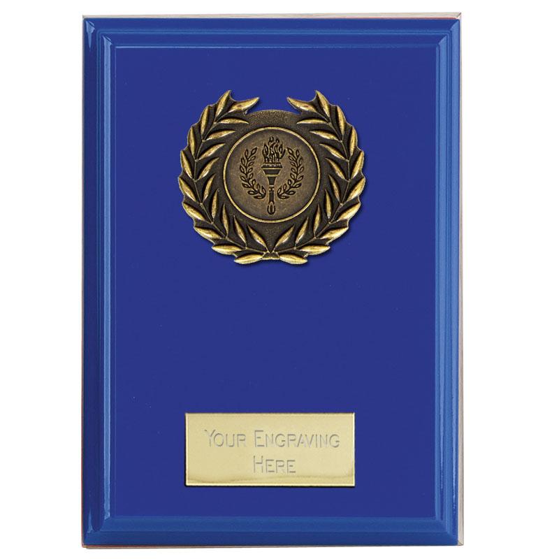 5 Inch Blue Laurel Wreath Centre Holder Bold Plaque