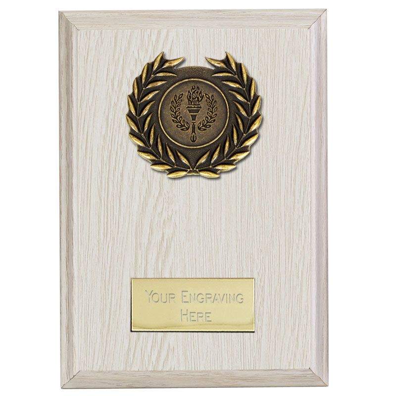 4 Inch White Laurel Wreath Centre Holder Bold Plaque