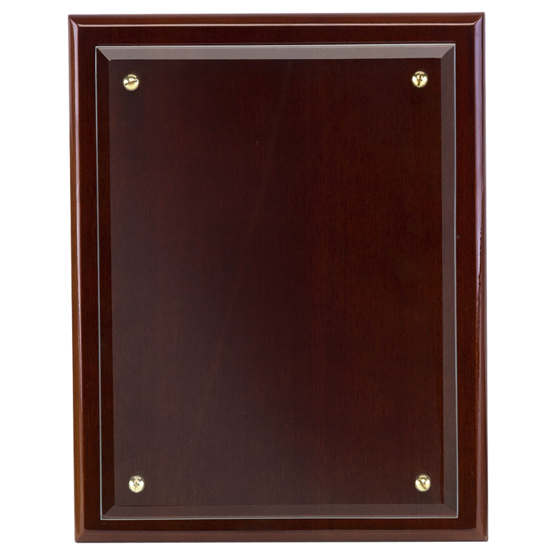8 Inch Walnut Finish Primary Glass Mounted Plaque