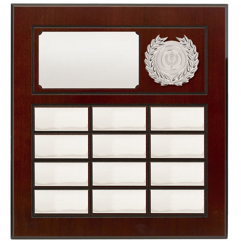 13 Inch Silver Plates on Wood Prestige Plaque