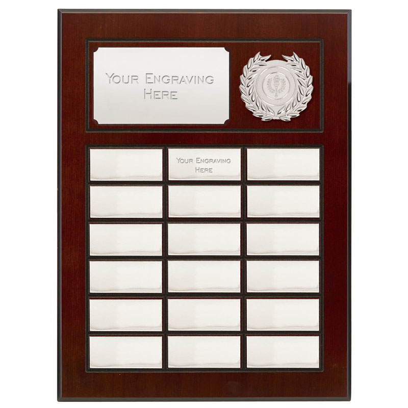 16 Inch Silver Plates on Wood Prestige Plaque