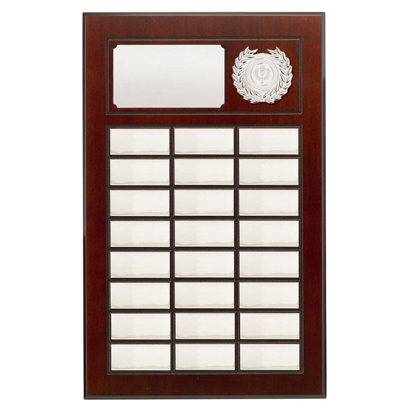 19 Inch Silver Plates on Wood Prestige Plaque