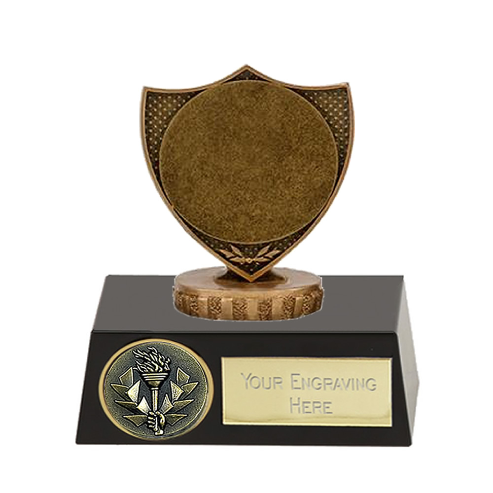 """11cm Shield with 2"""" Centre Figure on Meridian Award"""