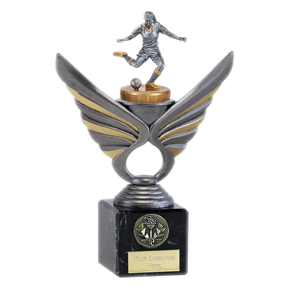 21cm Footballer Female Figure On Pegasus Award