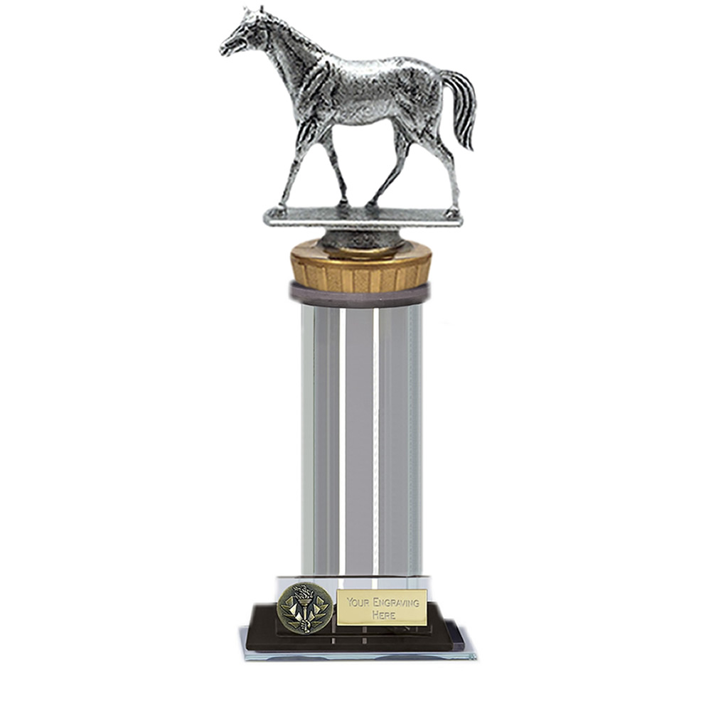 22cm Quarter Horse Figure On Horse Riding Trafalgar Award