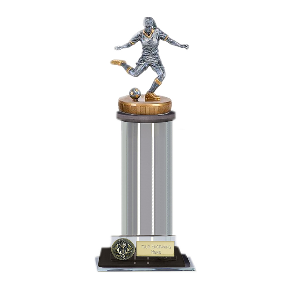22cm Footballer Female Figure on Football Trafalgar Award