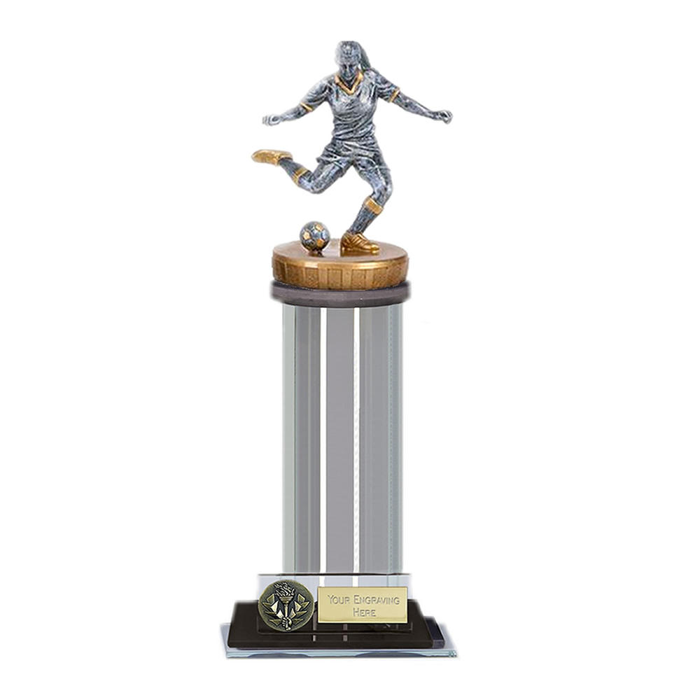 10 Inch Footballer Female Figure on Football Trafalgar Award