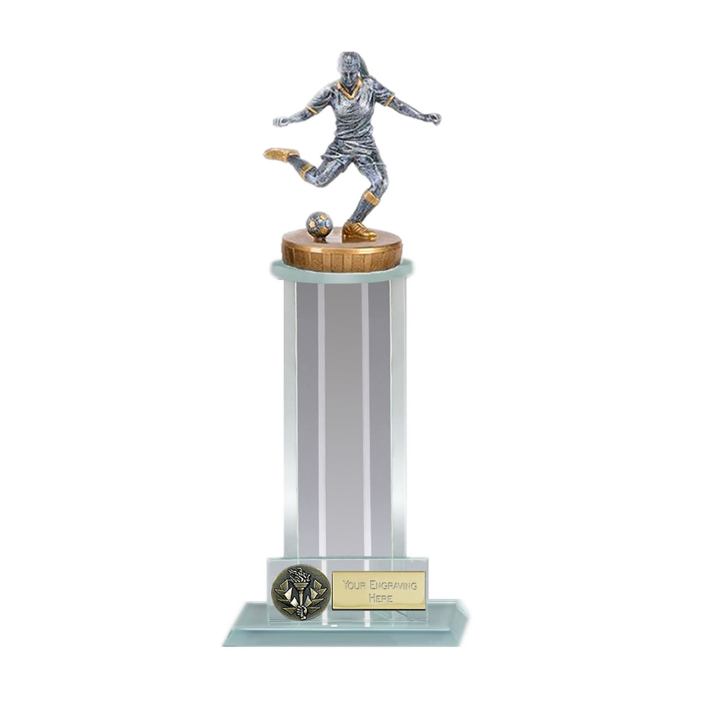 21cm Footballer Female Figure on Football Trafalgar Award