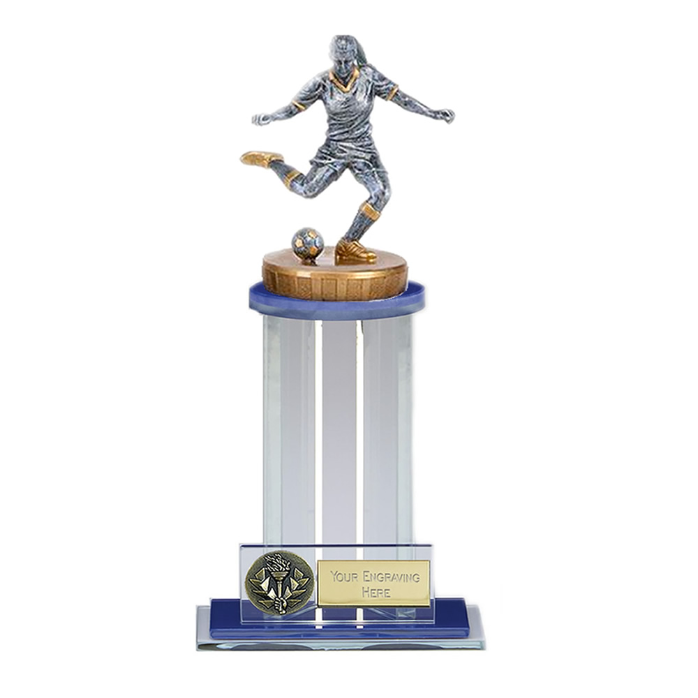21cm Footballer Female Figure on Football Trafalgar Award