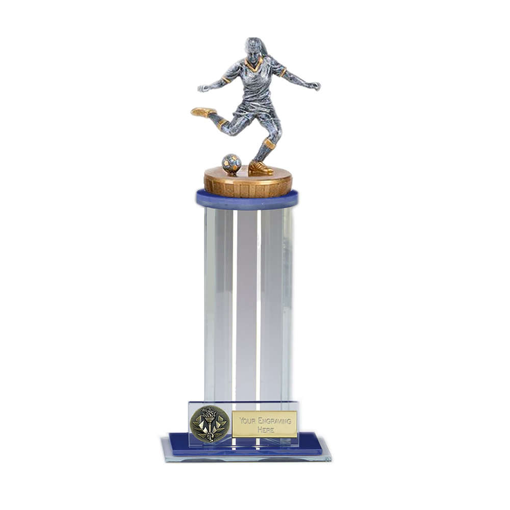 24cm Footballer Female Figure on Football Trafalgar Award