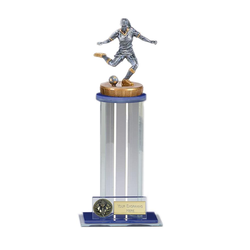 24cm Footballer Female Figure on Football Trafalgar Award