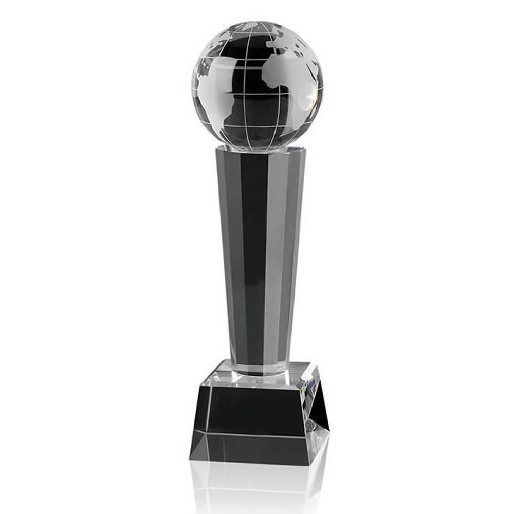 8 Inch Globe On Tall Stand Optical Crystal Award