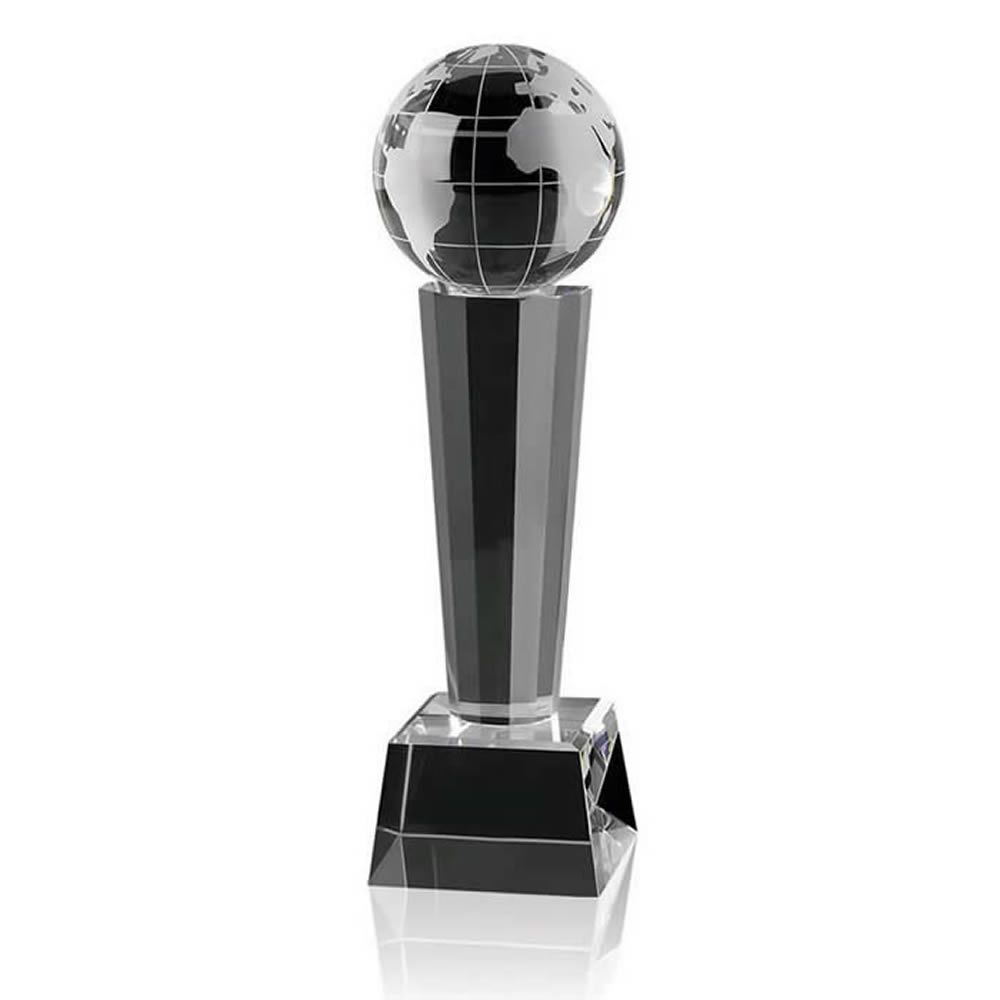 11 Inch Globe On Tall Stand Optical Crystal Award