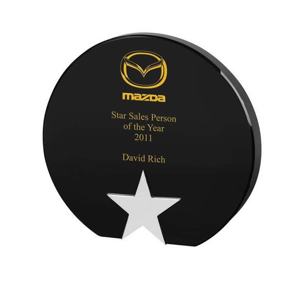 7 Inch Round Black & Clear Star Optical Crystal Award