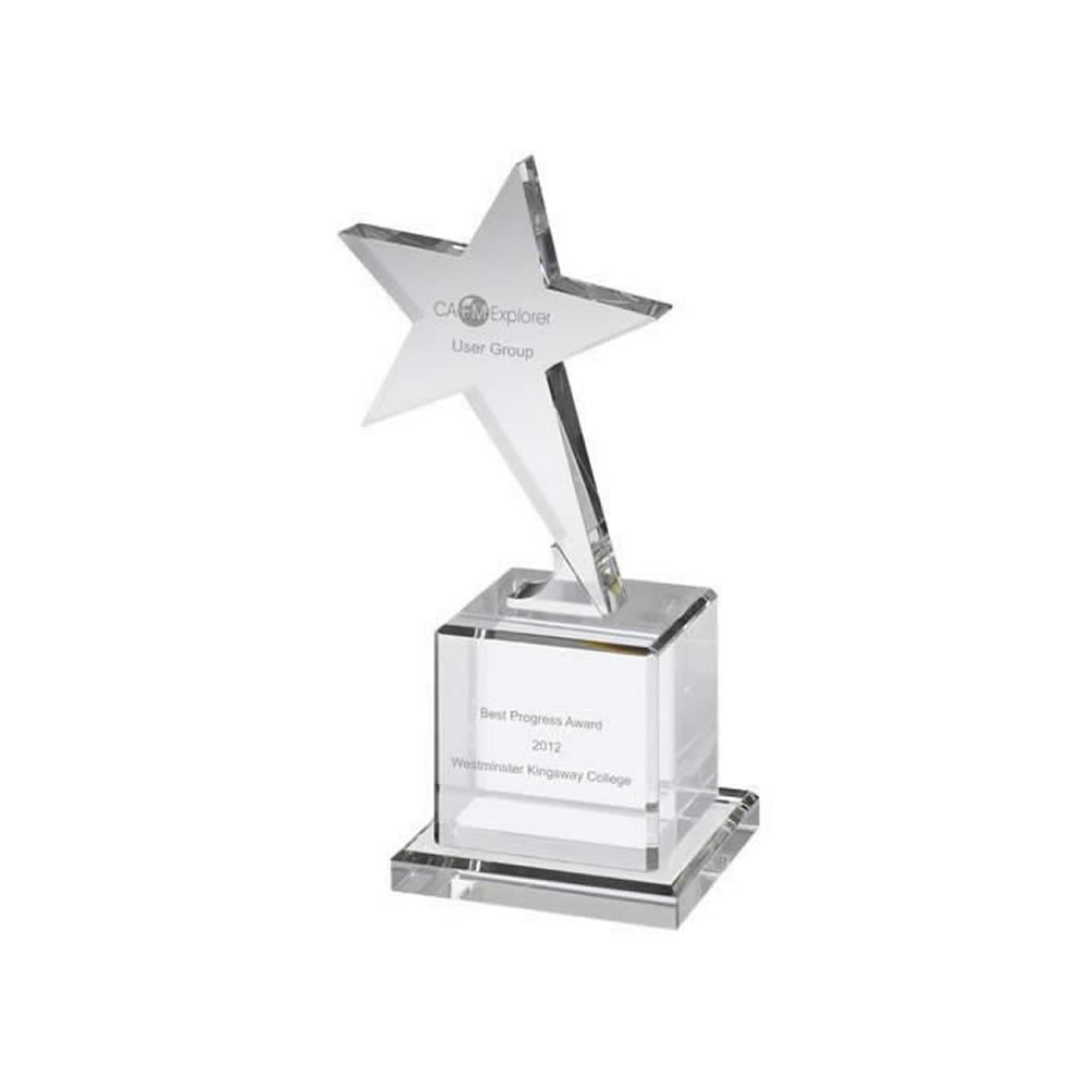 7 Inch Shooting Star On Block Base Optical Crystal Award