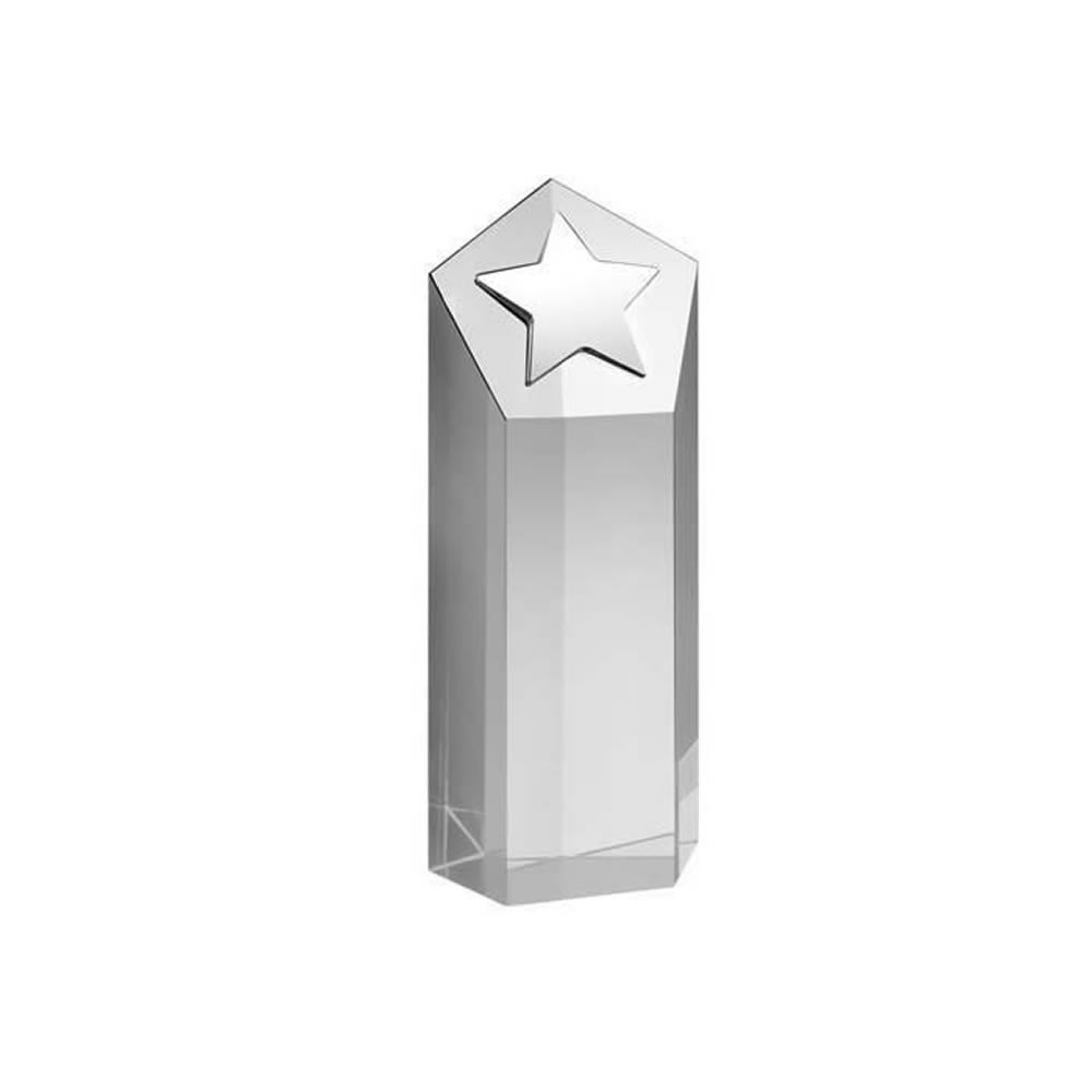 6 Inch Tall Block With Metal Star Optical Crystal Award
