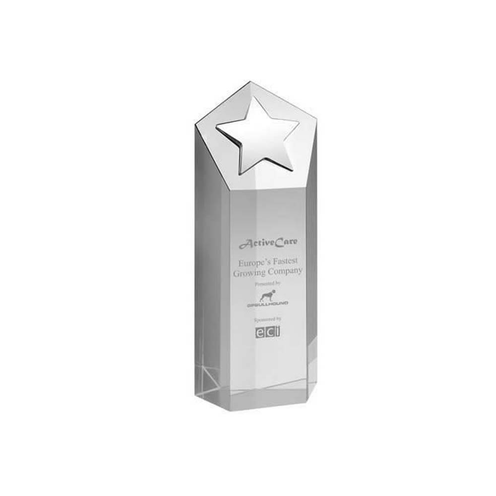 7 Inch Tall Block With Metal Star Optical Crystal Award