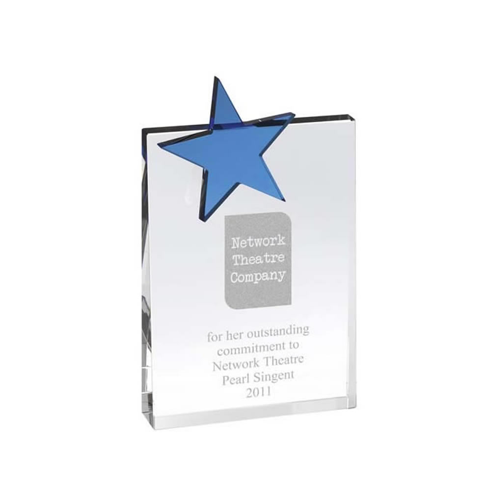 7 Inch Square Blue Star Optical Crystal Award