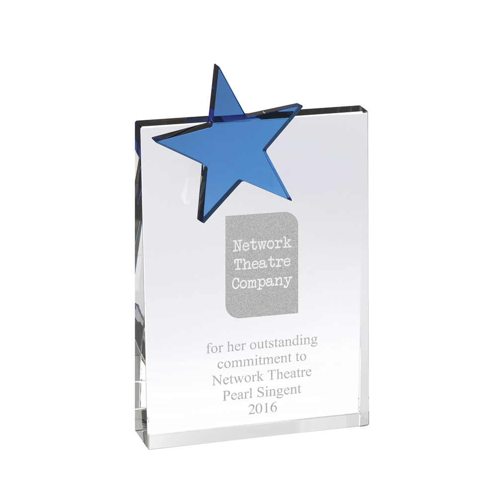 8 Inch Square Blue Star Optical Crystal Award