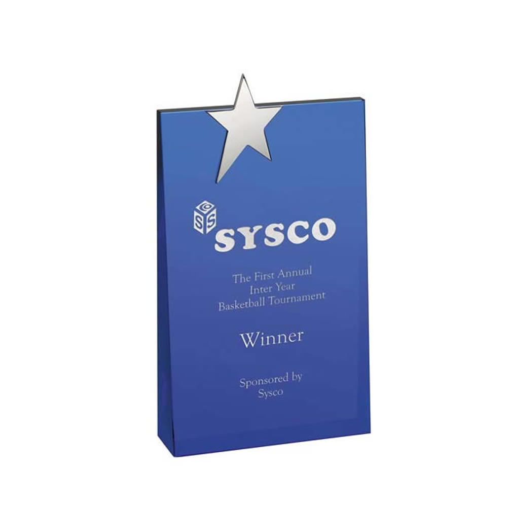 8 Inch Blue With Metal Star Optical Crystal Award