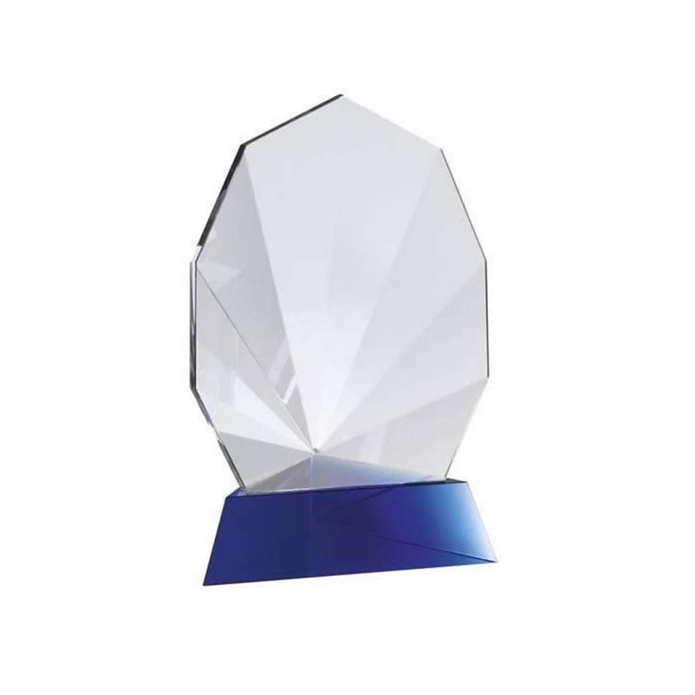 6 Inch Crafted Blue & Clear Nonagon Optical Crystal Award