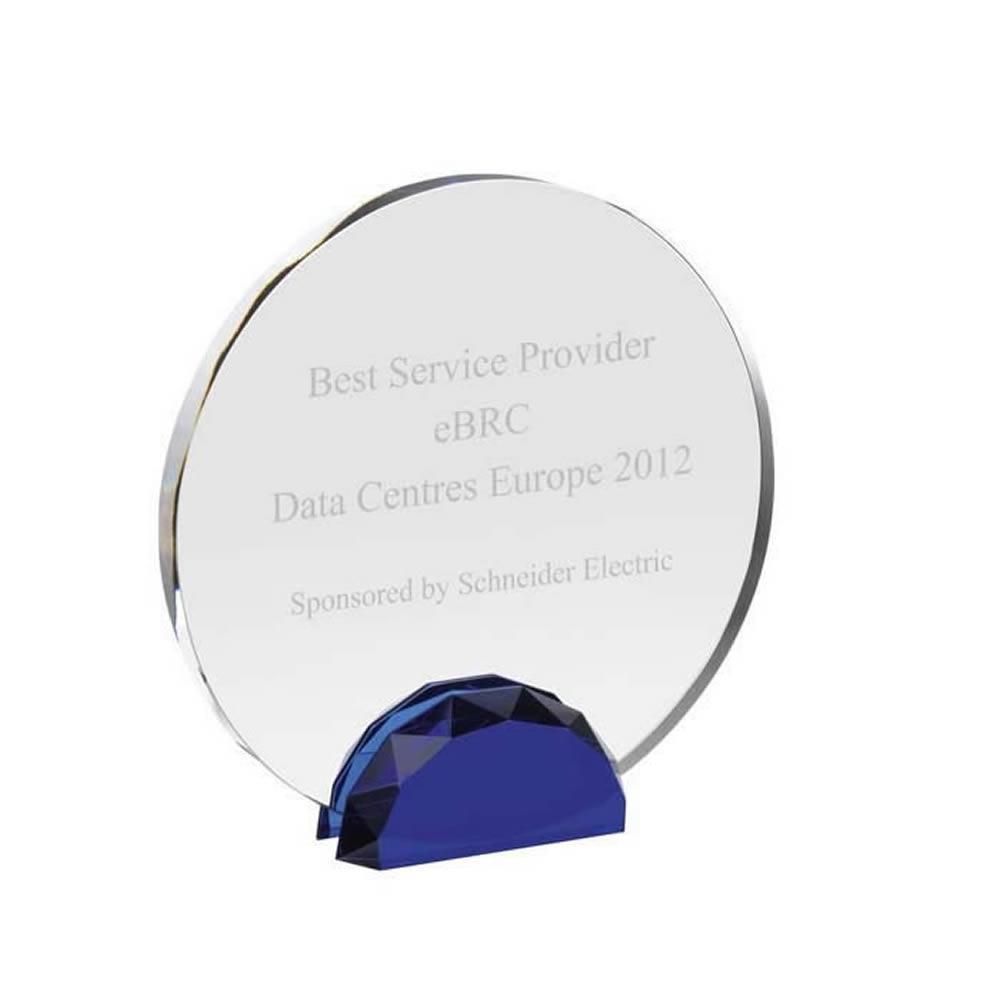 10 Inch Circular Blue & Clear Optical Crystal Award